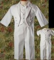 3pc Baptism Tuxedo Outfit w/ Pique Vest & Round Tail Jacket Infant & Toddler Boys