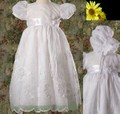Flower Embroidered Baptism Dress w/ Organza Overlay Infant Girls
