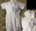 Cotton Baptism Shorts Romper w/ Attached Pique Vest & Cap Infant Boys