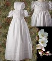 Smocked Bodice Christening Gown w/ Braid Knit Trim Infant Girls *