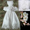 White Shantung Infant Girls Baptism Dress w. Cut Work & Pearls