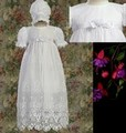 Lace Tulle Embroidered Christening Gown w/ Bonnet Infant Girls *