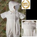 Smocked Cotton Baptism Shorts Romper Outift w/Hat Infant Boys