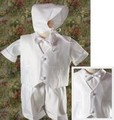 4pc Vest & Shorts Baptism Outfit w/ Embroidered Crosses Infant & Toddler Boys