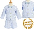 Little Boys 4pc Light Blue Cotton Seersucker Eton Jacket & Shorts Suit Set