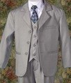 (Clearance) SIZE 12-18 MONTHS Light Grey 5pc Single Breasted Pant Suit w. Vest