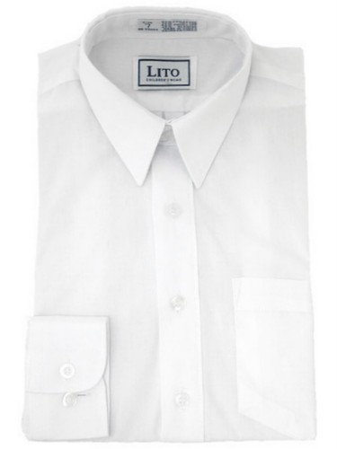 White long sleeve boys wrinkle resistant dress shirt for Wrinkle resistant dress shirts