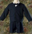 (Clearance) SIZE 3T Boys Navy Blue 4pc Eton Jacket & Shorts Suit Outfit