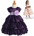 Purple Satin Tiered Flower Girls Bubble Dress w. 15 Sash Color Choices