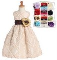 Blush Pink Taffeta Ruffled Ribbon Flower Girls Dress in 15 Sash Color Choices *