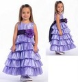 Lilac Taffeta Flower Girls Dress w. 5 Tier Full Length Skirt & Sash Choice *