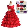 Red Taffeta Flower Girls Dress w. 5 Tier Full Length Skirt & Sash Choice *