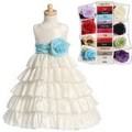 Ivory Taffeta Flower Girls Dress w. 5 Tier Full Length Skirt & Sash Choice *