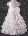 White Taffeta Holy Communion Girls Dress w. Five Layer Skirt *
