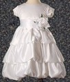 White Satin Girls Holy Communion Layered Bubble Dress