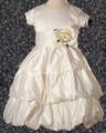 Ivory Satin Girls Holy Communion Layered Bubble Dress