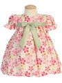 Fuchsia & Green Cotton Floral Dress w. Taffeta Sash Infant Girls