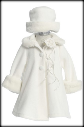 White A-Line Fleece Baby Girls Coat w. Fur Trim &amp Matching Hat