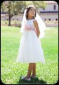 Girls White or Ivory Communion Dress w. Organza Sash & Flowers