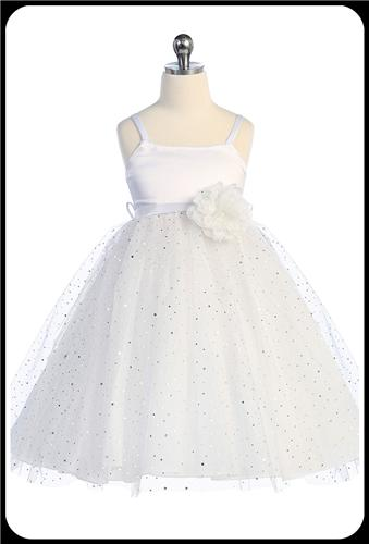 White Satin Girls Communion Dress w. Glittering Tulle Skirt