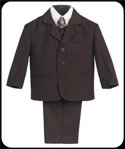 Chocolate Brown 5pc Boys Single Breasted Pant Suit w. Vest