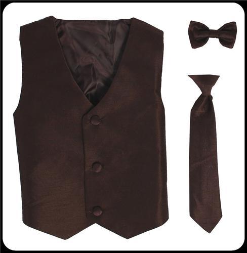 brown 2pc boys polysilk vest set w necktie or bow tie