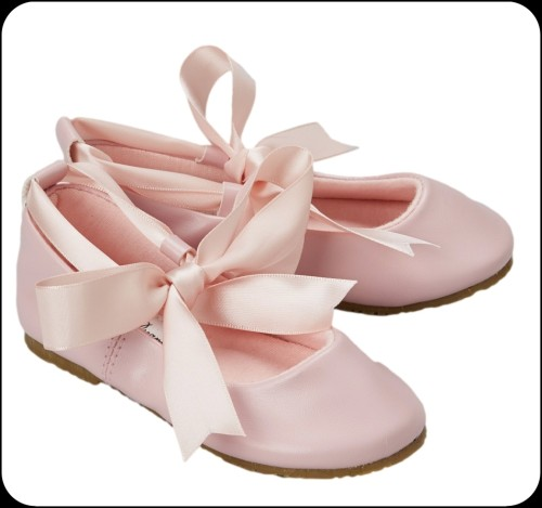 pink ballet flats dress shoes w ribbon tie