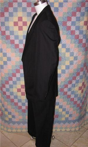 Andre Vachon STUNNING Black Pinstriped 2 Piece LUXURY FIT Business Suit Sz 46XL