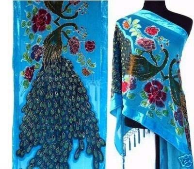 Gorgeous Silk Velvet Sequin Scarf Shawl Wrap SH14