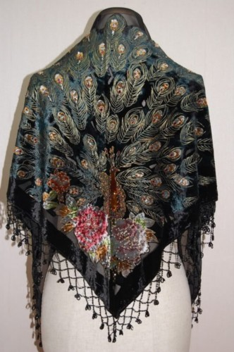 Gorgeous Silk Velvet Sequin Scarf Shawl Wrap SH06