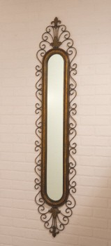 Long narrow intricate scroll wall mirror for Narrow wall mirror decorative