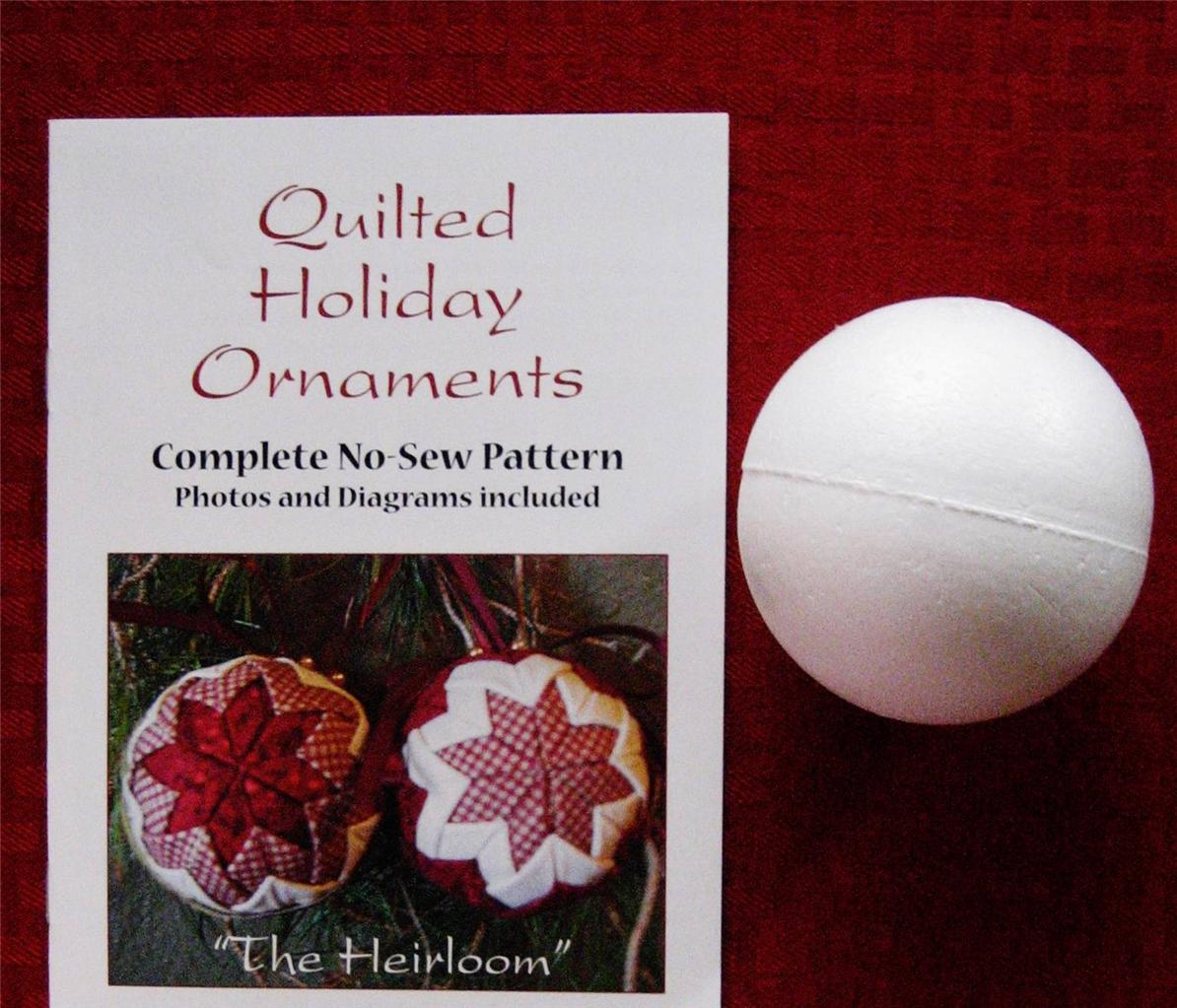 Quilted Holiday Ornaments Ball / Christmas No Sew Pattern Kit Quilted Look