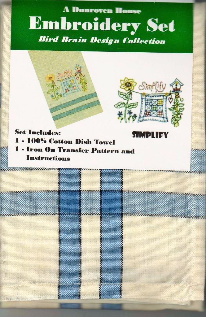 Simplify  Dish Towel  Embroidery Set    1 Towel + Transfer Pattern  Kit