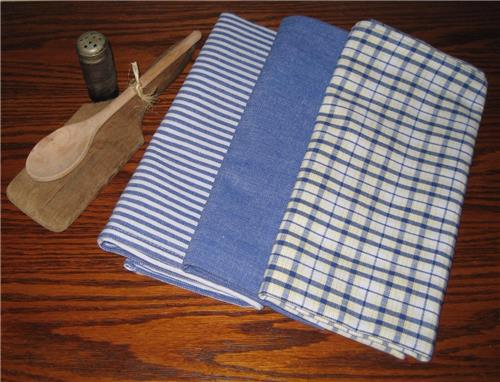 Dunroven House  Chambray Blue Dishtowels Set of 3 Stripe Solid Plaid