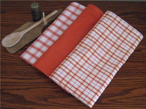 Dunroven House  Shabby Chic Orange  Dishtowels Set of 3 Lg. Plaid Solid Plaid