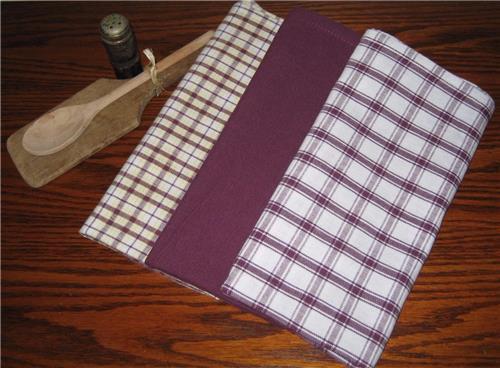 Dunroven House  Shabby Chic Purple  Dishtowels Set of 3 Lg. Plaid Solid Plaid