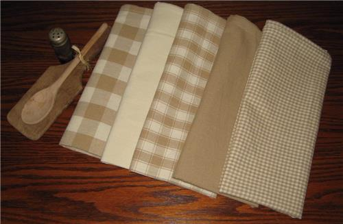 Dunroven House  Shabby Chic Wheat & Cream Dishtowels Set of 5 Solids / Plaids