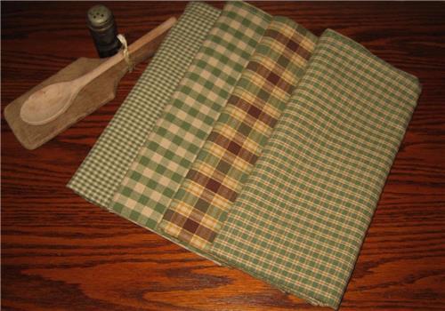 Dunroven House Shabby Chic  Sage Green Tea Dye Dishtowels Set of 4 Plaids