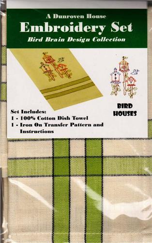 Bird Houses  Dish Towel  Embroidery Set      1 Towel + Transfer Pattern  Kit