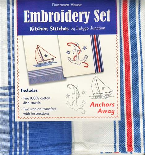 Anchors Away    Dish Towel  Embroidery Set   2 Towels +  2 Transfer Pattern  Kit