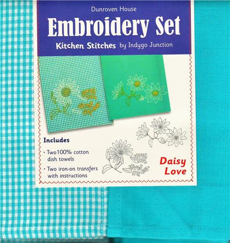 Daisy Love    Dish Towel  Embroidery Set   2 Towels +  2 Transfer Pattern  Kit
