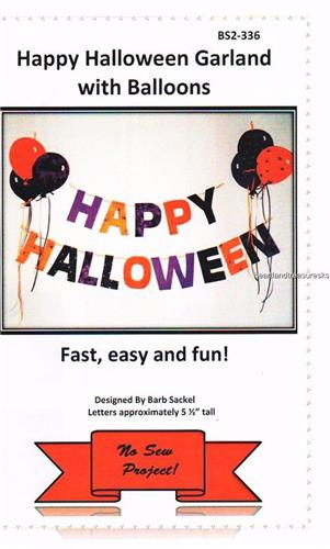 Happy Halloween Garland with Balloons    No Sew Pattern
