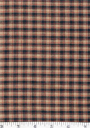 Dunroven House H-55 Primitive Style Homespun Black & Red Sm. Plaid Fabric 1/2 Yd Cut