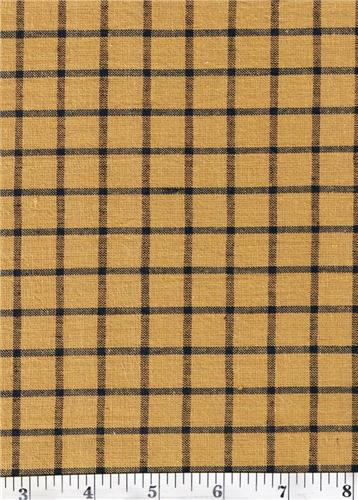Dunroven House H-70 Primitive Style Homespun Mustard Black Lg Plaid Fabric 1/2 Yd Cut