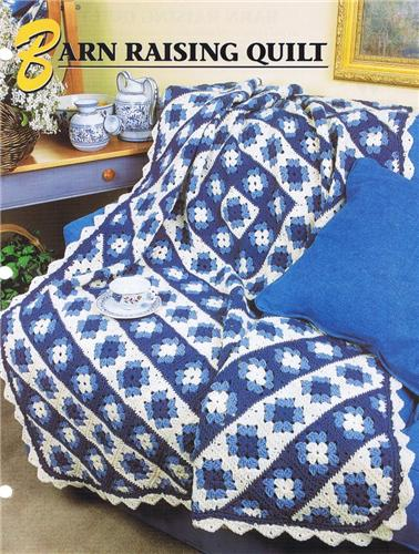 Barn Raising Quilt Annies Attic Crochet Afghan Pattern Instructions