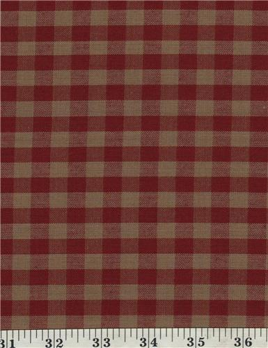 Dunroven House H-32 Homespun Red & Beige  Checkered Fabric 1/2 Yd Cut Off Bolt