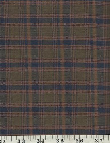 Dunroven House H-3210   Homespun Navy Blue / Green Plaid Fabric 1/2 Yd Cut