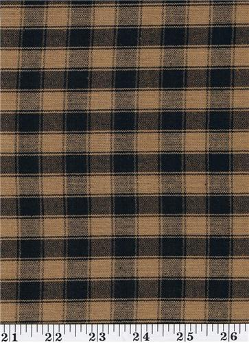 Dunroven House H 54 Homespun Black Amp Tan Plaid Fabric 1 2