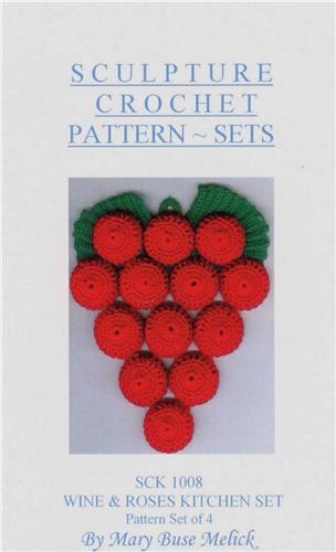 Wine & Roses Kitchen Set   Crochet Pattern Instruction Booklet