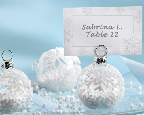 snowflake glass ornament place card holder wedding favor